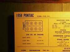 1958 Pontiac EIGHT Series 370 CI V8 w/3x2BBL or FueI Injection Tune Up Chart