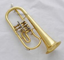 Prof. New Gold Rotary Valves Flugelhorn Bb Keys Flugel Horn With Case Mouthpiece