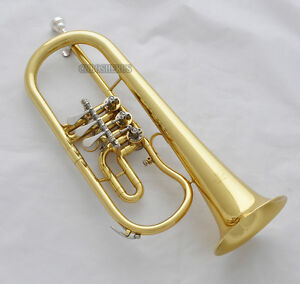 Prof. New Gold Rotary Valves Flugelhorn Bb Keys Flugel Horn With Case Mouthpiece