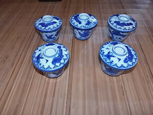 JAPANESE GREEN TEA CUP SET  OF 5 WITH ARTIST'S SIGNATURE