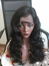 "20"" #1B 6A Brazilian Virgin Body Wave 180% Density Glueless Full Lace Wig"