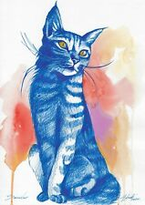 original drawing A4 472LM art by samovar watercolor Mixed Media cat Signed 2020
