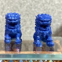 1:12 Dollhouse miniature Chinese guardian lions sculptures - pair