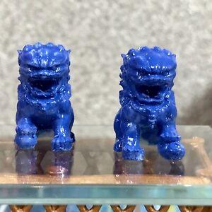 1:12 Dollhouse miniature Chinese guardian lions sculptures - pair