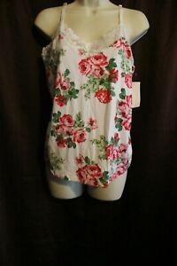 NWT Flora by Flora Nikrooz Ivory 101 Floral Large L Pajama Top Sleepshirt T80747