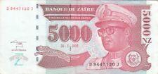ZAIRE BANKNOTE P.68-7120 5000 5.000 5,000 NOUVEAUX ZAIRES 1995 VERY FINE PLUS