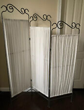 3 Panel Fabric Room Divider Folding Privacy Divider Screen White Gray Pewter
