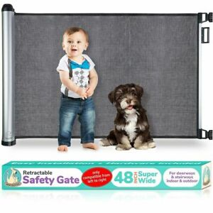 Baby Safety Gate Retractable Door Extra Wide Child Pet Safety Stairs Gate