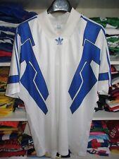 Maillot ADIDAS trikot shirt vintage blanc bleu années 90 trefoil camiseta XL