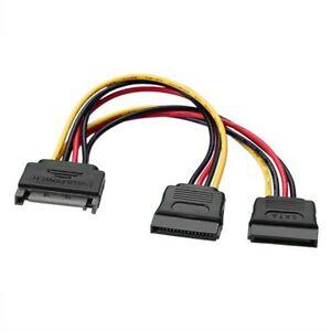 15 Pin SATA Male to 2 SATA Female Power Extension Y Splitter Cable Adapter Cable