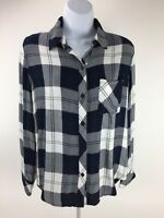 Rails Hunter Womens Flannel Plaid Shirt Size X Small Navy Blue White Pine