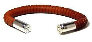 Range Master Bracelet Brown Leather 9 mm Nickle Casings Hand Made USA  L