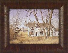 COVEY BREAK by Richard Plasschaert 10x13 FRAMED PRINT Quail Weathered Old House