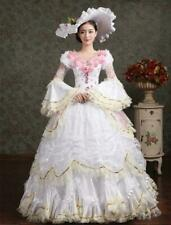 Woman Victorian Gothic Period Ball Gown Theare white bandage Maxi dress Ths01