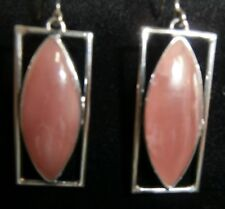 CHRYSACOLA PINK  PIERCED  HOOK EARRINGS RECTANGLE STG SILVER  NEW NOT BOXED