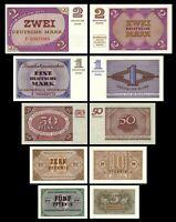 2x 5,10,50 Pfg - 1,2 Mark Bundeskassenscheine  - 10 Banknoten - Reproduktion