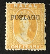 S. Africa - Natal Q. Victoria 1876 postage O/P on 1d yellow m/m  (Cat £90)