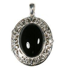 Silver / Onyx Filigree Edged Locket and Chain