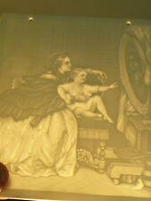 ANCIENNE PLAQUE LITHOPHANIE BISCUIT PRE-CINEMA PHOTOPHORE XIXE SCENE DE FAMILLE