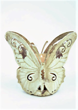 Candle Tea Light Shabby Chic French Cream Distressed Metal  Butterfly T Light