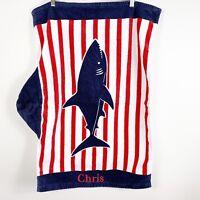 "Pottery Barn Kids Shark Allover Nursery Beach Wrap Towel ""Chris"" Monogram Blue"