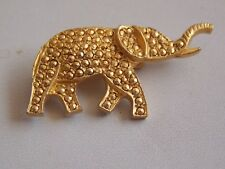 Very Cute Gold Tone & Gold Marcasite Elephant Brooch