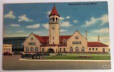 1942 ME Postcard Bangor Maine Union Railroad RR Train Station Depot Teich Linen