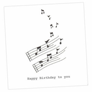 Crumble and Core   HAPPY BIRTHDAY CARD   Musical Notes