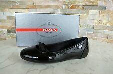 PRADA Gr 39 Ballerinas Slipper Lack Schuhe shoes schwarz black nero NEU UVP 330€