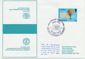 GB 1973 Jersey 3 P FDC used on Balloon Flight JERSEY – MANCHESTER