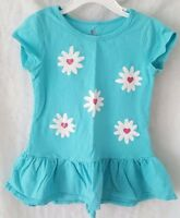 Okie Dokie Girls Blue Pink White Floral Shirt Top Blouse Size 5T
