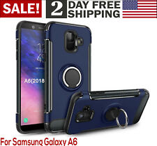 Samsung Galaxy A6 Case 2018 360-Rotating Ring Holder Kickstand Phone Cover Blue