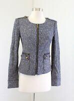 Ann Taylor Womens Blue White Tweed Collarless Zip Front Blazer Jacket Size 0