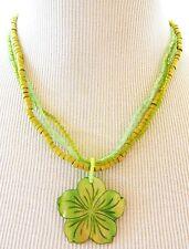 Multi Strand Beaded Plumeria Shell Pendant Necklace Green Hawaii Flower Jewelry