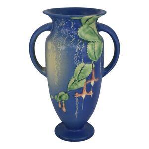 Vintage Roseville Pottery Fuchsia 1938 Blue Handled Vase 899-9