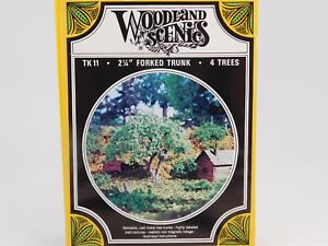 """HO 1/87 Scale Woodland Scenics Kit TK11 Forked Trunk 2-1/4"""" Trees Set of 4"""