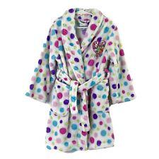 Shopkins Girls size 6 Wrap Front Bathrobe White Polka Dot Fuzzy & Super Soft