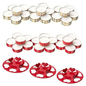 Christmas Unscented Tea Light  Candles Holder Gold Red Burning Time 4 hrs IKEA