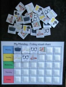 Visual timetable for school week with  30 PEC cards & A4 Board ~ SEN ~ Autism