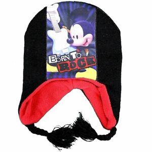 Disney Mickey Mouse Born To Rock Toddler Boy's Black Hat & Mittens Set Sz. 2-4T