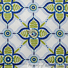 BonEful Fabric FQ Cotton Quilt White Blue Green Damask Flower Calico Whimsy Dot