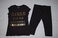 Girls Black Cap Sleeve Tee Shirt Gold Girls Can Do Anything Capri Leggings M 7-8