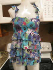 ALLEN B, WOMEN'S Blue Poly Sleeveless Floral Career Ruffled Blouse, Size S