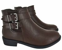 WOMENS LADIES ANKLE ZIP BUCKLE CHELSEA BLOCK HEEL LOW SHOES BOOTS SIZE 3-9 NEW