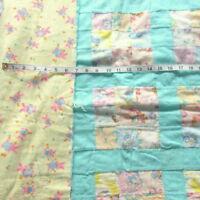 crib quilt blanket Vtg 1950s CHILDS Novelty Fabric coverlet flannel