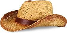 Strohhut Cowboy-Hut mit Lederband Hutband 100% Stroh Westernhut Sonnenhut