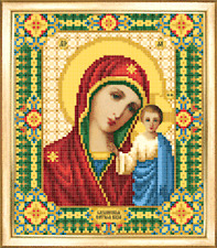 Our Lady Of Kazan Orthodox Icon beading DIY kit bead embroidery glass seed beads