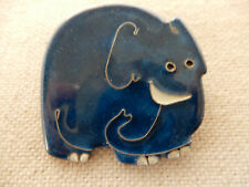 Artisan Made Cloisone Copper Enameled Elephant, Pachaderm, Republican Pin Brooch