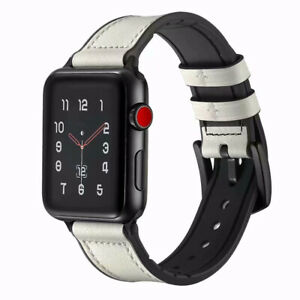 2 IN 1 Leather+Silicone iWatch Band Strap for Apple Watch Series 6 5 4 3 40/44mm