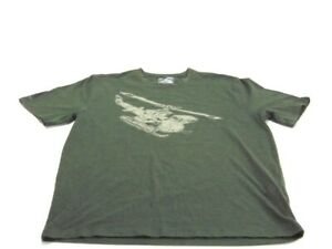 Under Armour T-Shirt Green Heatgear Loose Army Helicopter Short Sleeve Mens M